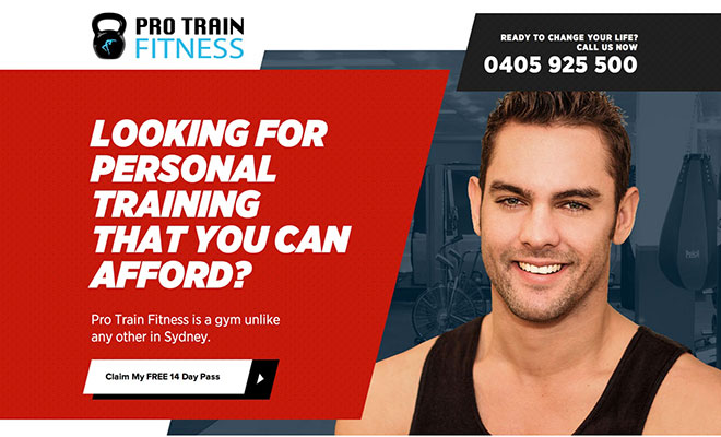 Pro Train Fitness Landing Page
