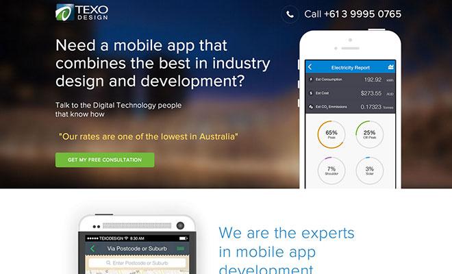 Texo Design Landing Page