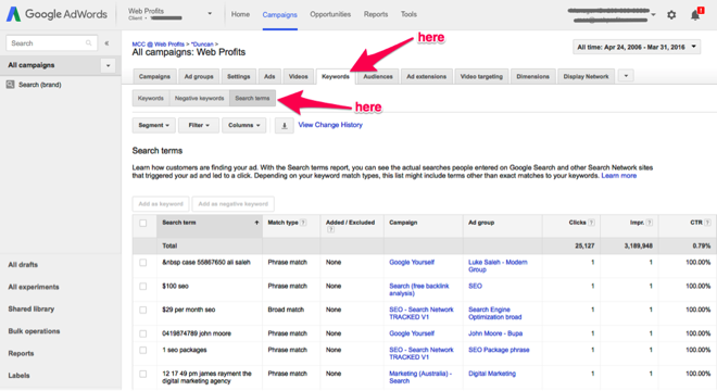 Adwords 2 for content ideas