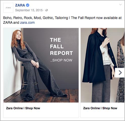 B2C - Zara - facebook ad example