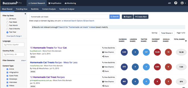 Buzzsumo 9 for content ideas
