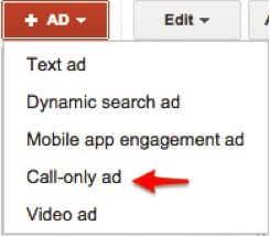 Screenshot of Call-only ad drop down option