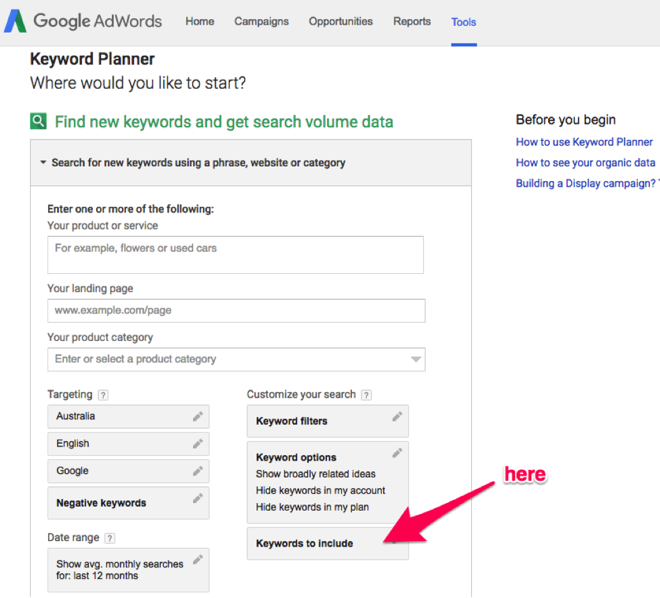 Keyword Planner 6 for content ideas