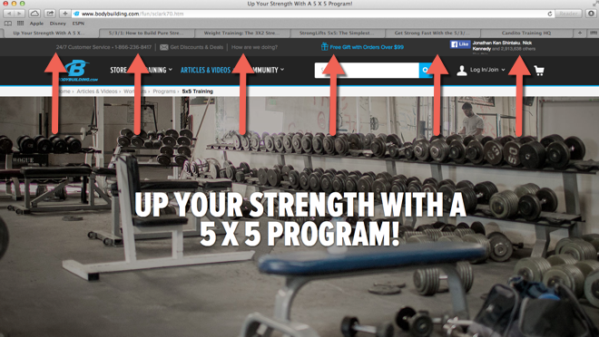 Tabs open for strength training program example of long form content