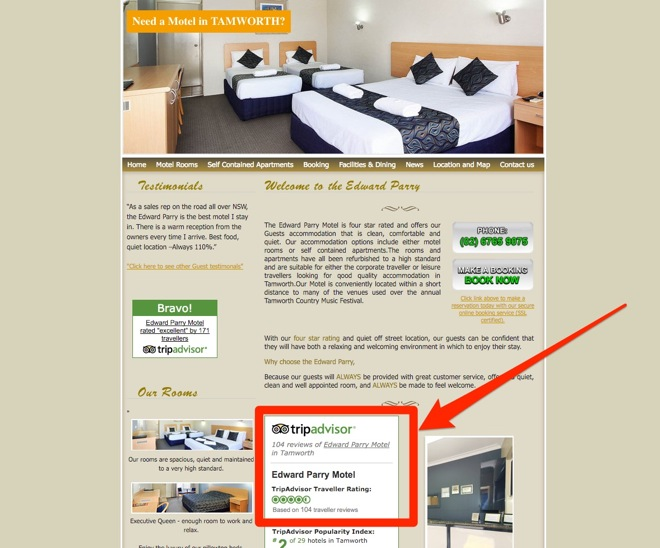 Tamworth_Motel - Widgets Example of link building tactics - Image 2