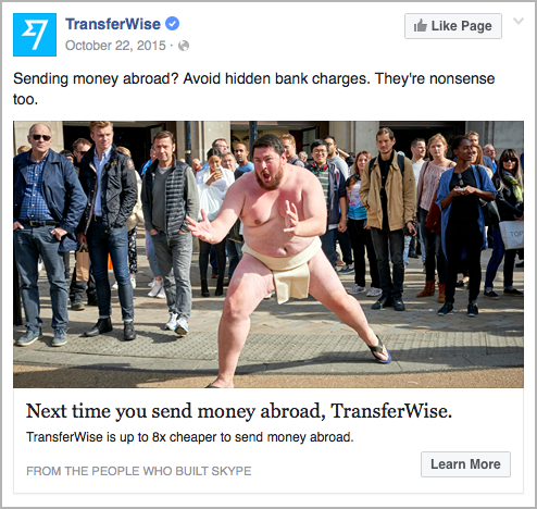TransferWise - facebook ad example