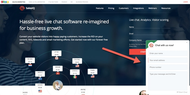 ZOHO live chat for SaaS page