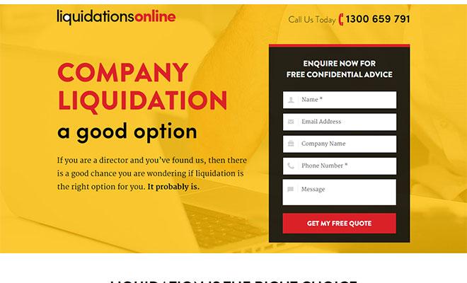 Liquidation Online Landing Page