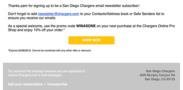 offer an unsubscribe link for welcome email